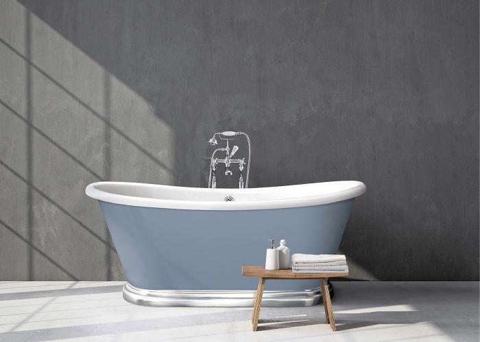 BC Designs - Acrylic Boat Bath With Aluminium Plinth - 1700mm x 750mm