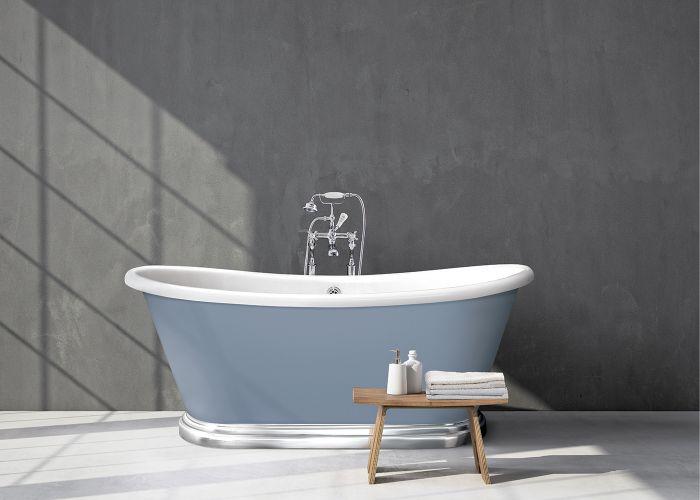 BC Designs - Acrylic Boat Bath With Aluminium Plinth - 1580mm x 750mm