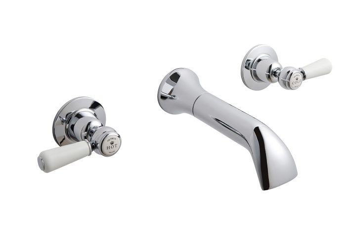 BC Designs Victrion Lever 3-Hole Wall Basin Filler With Spout