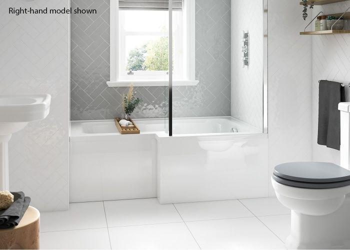 BC SolidBlue - L Shaped Shower Bath - 1500mm x 850mm