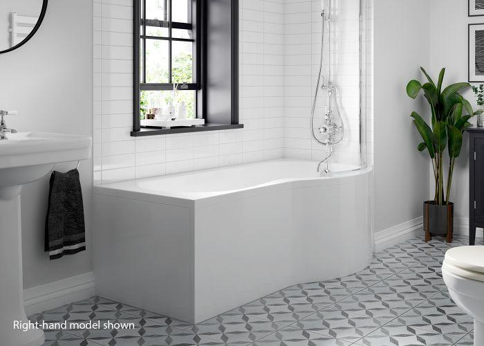 BC SolidBlue - P Shaped Shower Bath - 1500mm x 850mm