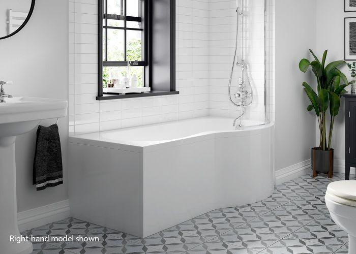 BC SolidBlue - P Shaped Shower Bath - 1700mm x 850mm