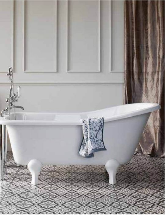 Burlington - Buckingham Slipper Bath - White - 1500mm x 740mm