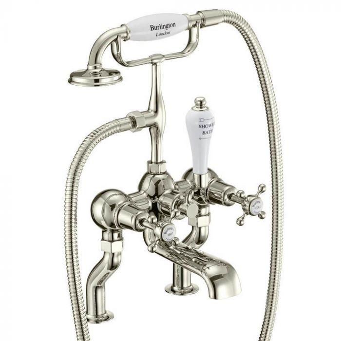 Burlington - Deck Mounted Bath Shower Mixer With 'S' Adjuster - Nickel
