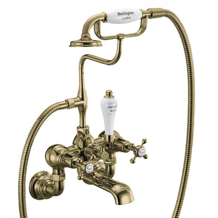 Burlington - Bath Shower Mixer Wall Mounted with 'S' Adjuster - Gold