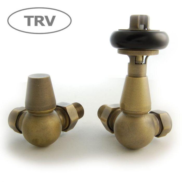 Faringdon Corner Thermostatic Valve Set - Old English Brass