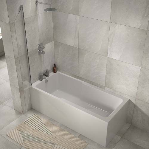 Lux Bath - Single Ended Shower Bath - 1700mm x 750mm - White