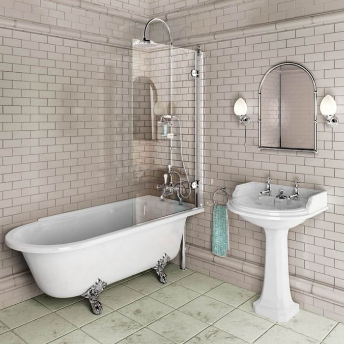 Burlington - Bath Screen - Polished Aluminium - 850mm x 1450mm