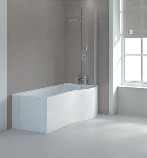 Lux Bath -P Shaped Shower Bath - 1675mm x 850mm - White