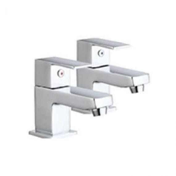 Lux Bath - Forte Basin Pillar Taps - Chrome